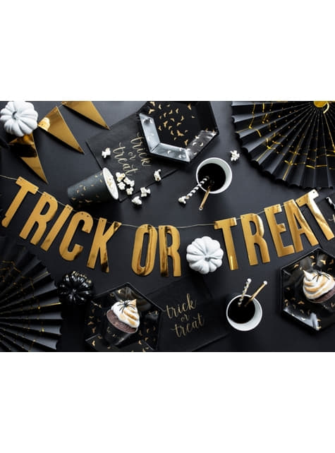 2 Abanicos de papel decorativos negros con araña dorada (32-40 cm) - Trick or Treat Collection