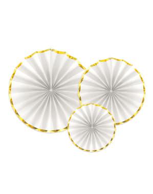 3 leques de papel decorativos branco com borda dourada