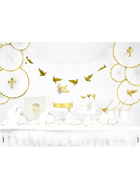 3 abanicos de papel decorativos blanco con borde dorado