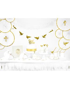 Deko-Fächer Set 3-teilig aus Papier weiß mit goldenem Rand