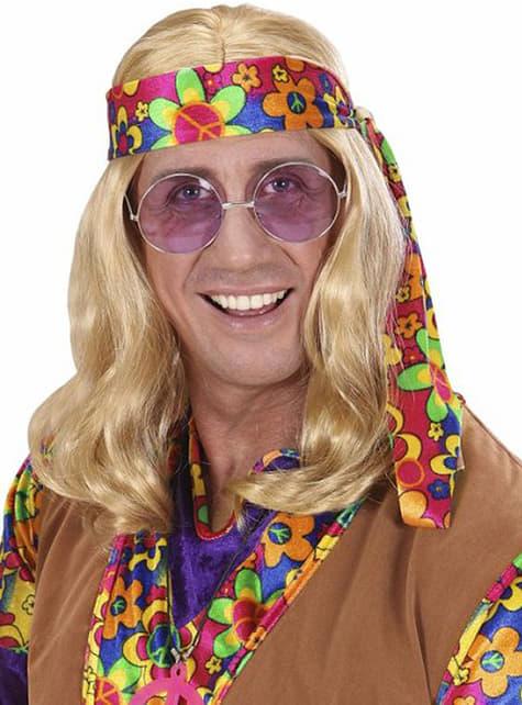 Peluca de hippie rubia para hombre