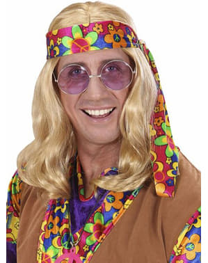 Parrucca da hippie bionda con fascia per uomo