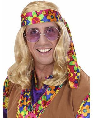 Peruca de hippie loira para homem