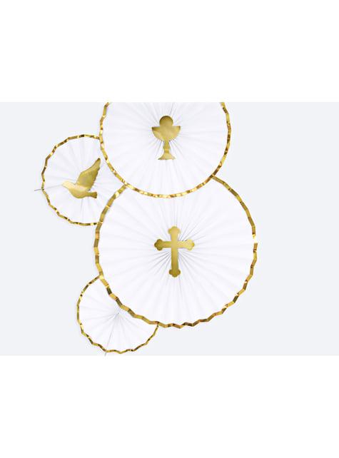 3 abanicos de papel decorativos blanco con borde dorado