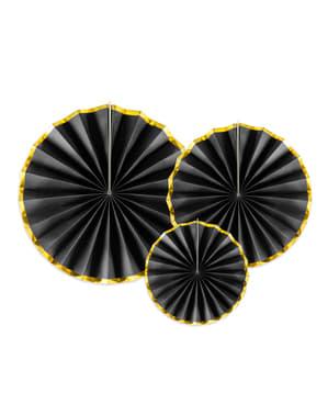 3 rosaces en papier noir avec bord doré