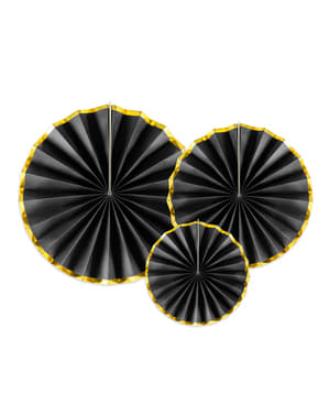 3 decorative paper fans in black with gold border