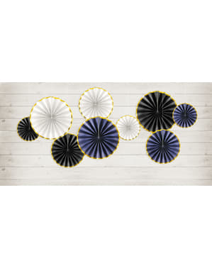 3 abanicos de papel decorativos negro con borde dorado