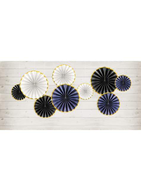 3 abanicos de papel decorativos azul marino con borde dorado