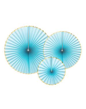 3 jasnoniebieskie papierowe wachlarze dekoracyjne ze złotym obramowaniem - Yummy