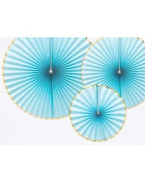 3 koristeellista paperiviuhkaa taivaansinisenä kultareunuksin - Yummy