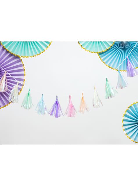 3 abanicos de papel decorativos azul cielo con borde dorado – Yummy