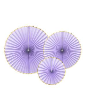 3 leques de papel decorativos lilás com borda dourada - Yummy