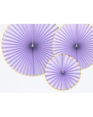 3 abanicos de papel decorativos lilas con borde dorado - Yummy