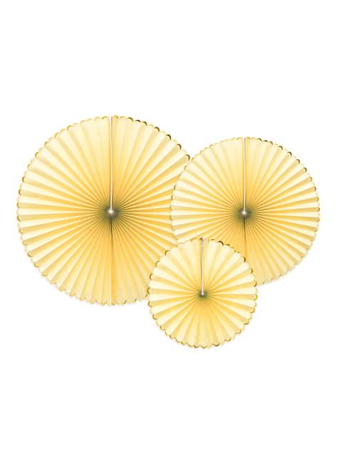 3 abanicos de papel decorativos amarillos con borde dorado - Yummy