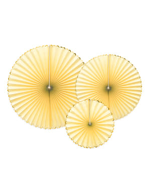 3 decorative paper fans in  yellow with gold border - Yummy