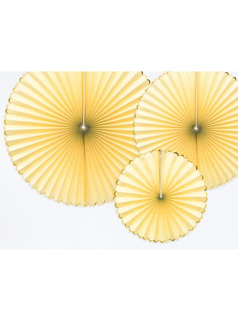 3 abanicos de papel decorativos amarillos con borde dorado - Yummy - para tus fiestas