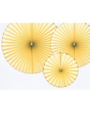3 żółte papierowe wachlarze dekoracyjne ze złotym obramowaniem - Yummy
