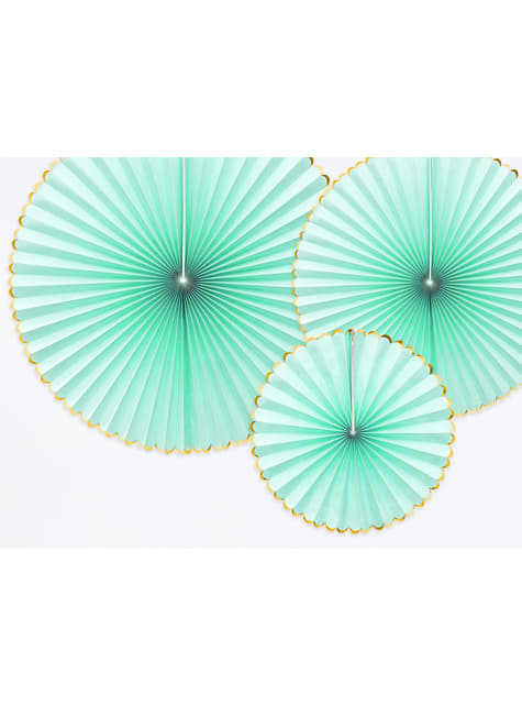 3 abanicos de papel decorativos verde menta con borde dorado - Yummy