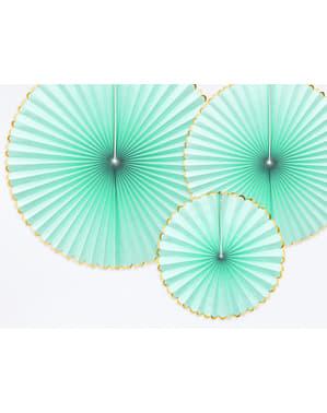 3 leques de papel decorativos verde menta com borda dourada - Yummy