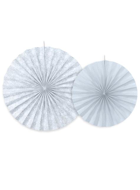 2 abanicos de papel decorativos gris azulado - First Communion