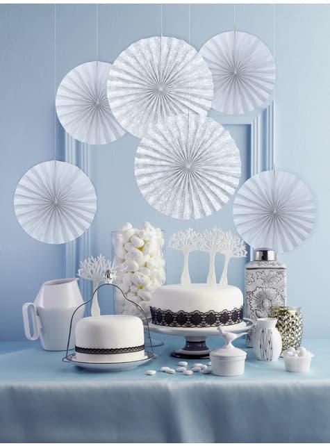 2 abanicos de papel decorativos gris azulado - First Communion - para tus fiestas