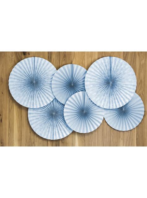 2 abanicos de papel decorativos gris azulado - First Communion - barato
