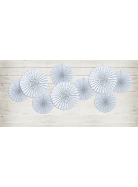2 abanicos de papel decorativos gris azulado - First Communion