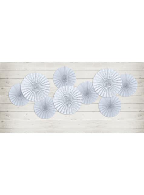 2 abanicos de papel decorativos gris azulado - First Communion - para decorar todo durante tu fiesta