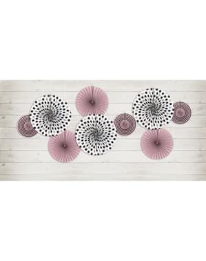 3 koristeellista paperiviuhkaan pinkkinä täpläkuviolla - Sweets