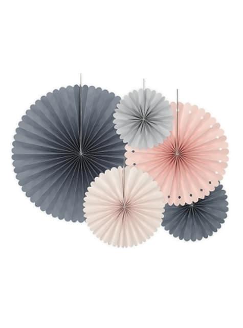 5 festoni a forma di ventaglio decorativo di carta assortiti (14-19-21-25-38 cm)