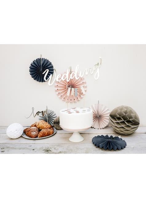 5 assorted decorative paper fans  (14-19-21-25-38 cm)
