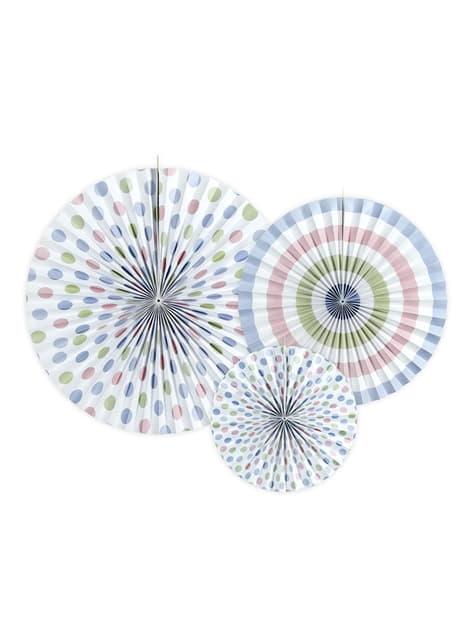 3 rosaces en papier divers à motifs pois multicolores