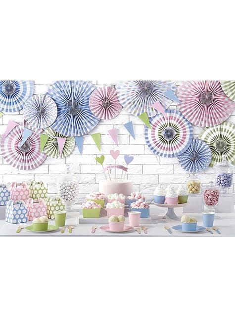 3 assorted decorative paper fans with multicolored polka dots pattern (23-32-40 cm)