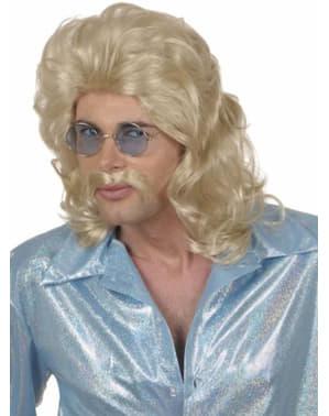 Blond peruk och mustach från sjuttiotalet