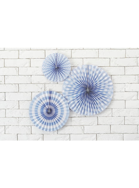 3 abanicos de papel decorativos azul cielo estampados - Dusty Blue