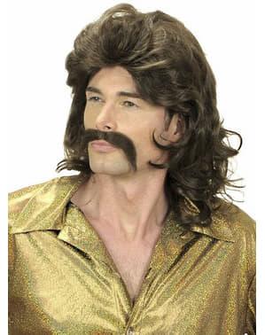 Parrucca e baffi degli anni '70 castani