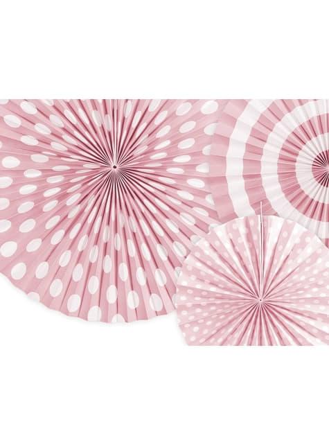3 festoni a forma di ventaglio decorativo di carta assortiti con stampa rosa pastello a pois (23-32-40 cm)