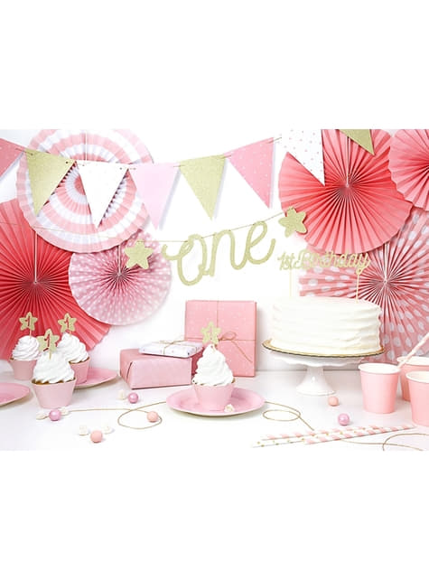 3 assorted decorative paper fans with pastel pink polka dots pattern (23-32-40 cm)