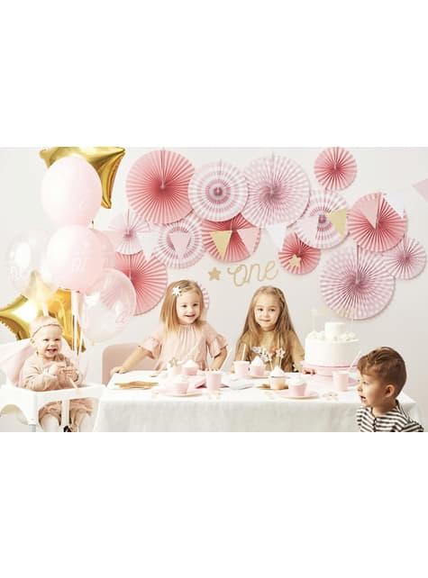 3 Leques de papel decorativos variados com estampado de rosa pastel de pintas (23-32-40 cm)