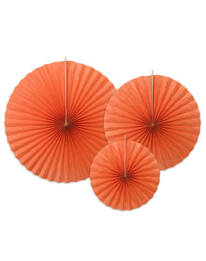 3 decorative paper fans in dark orange
