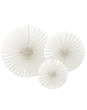 3 abanicos de papel decorativos blanco roto