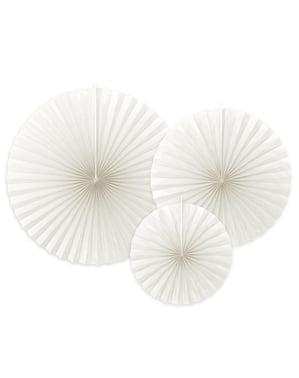 3 leques de papel decorativos branco marfim