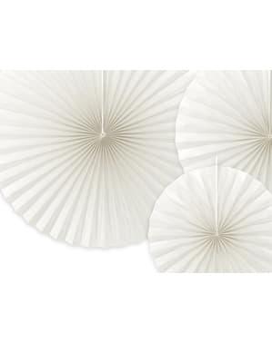 Deko-Fächer Set 3-teilig aus Papier weiß -beige