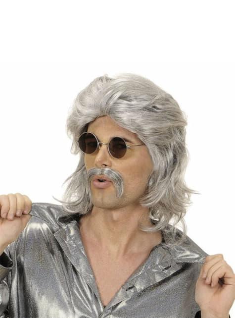 Peluca y bigote de los 70 gris