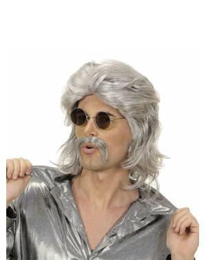 Perücke und Schnurrbart 70er Jahre grau