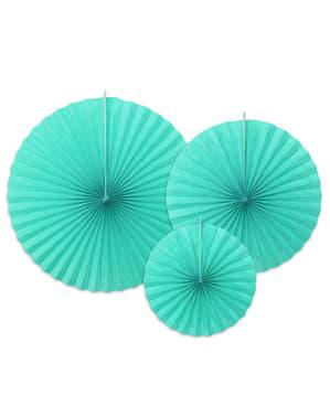 3 abanicos de papel decorativos azul turquesa