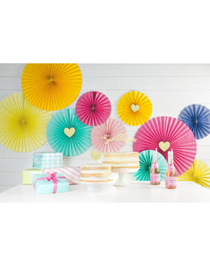 3 decorative paper fans in turquoise blue