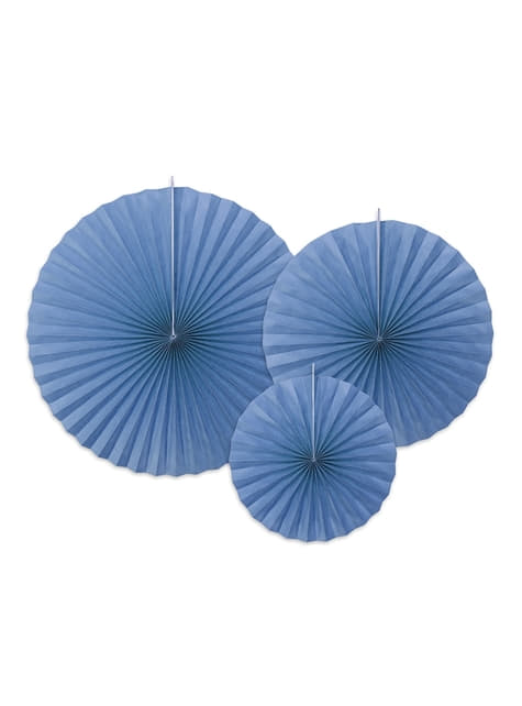 3 assorted decorative paper fans in blue (23-32-40 cm)