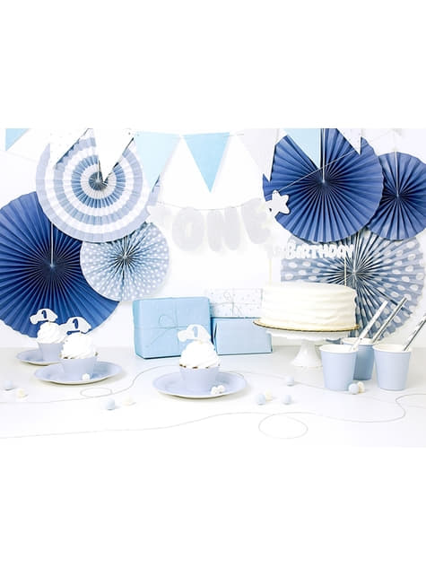 3 festoni a forma di ventaglio decorativo di carta azzurri assortiti (23-32-40 cm)