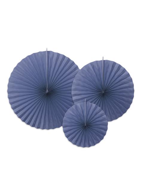 3 leques de papel decorativos azul marinho